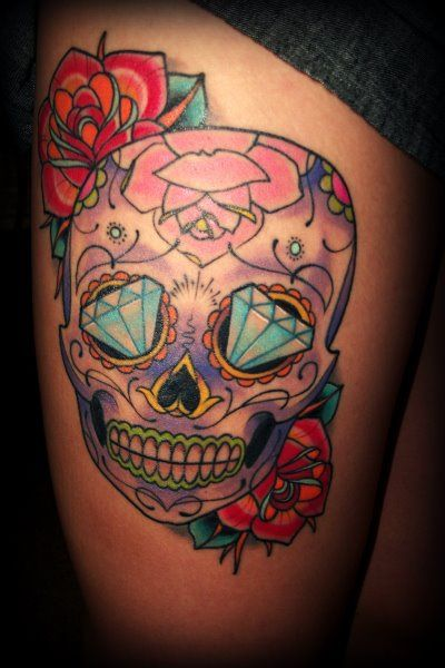 Sugar Skull Badass Inkpiercings Skull Thigh Tattoos