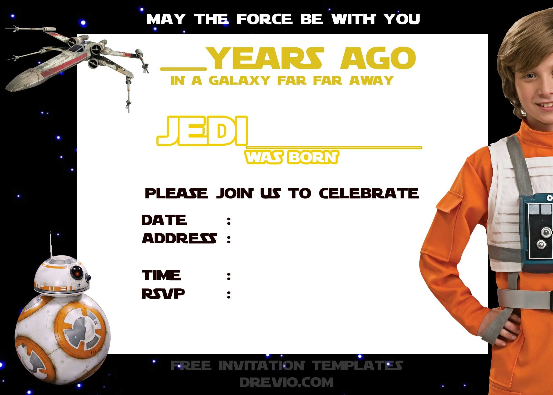 Download Now Blank Star Wars Birthday invitation template Download