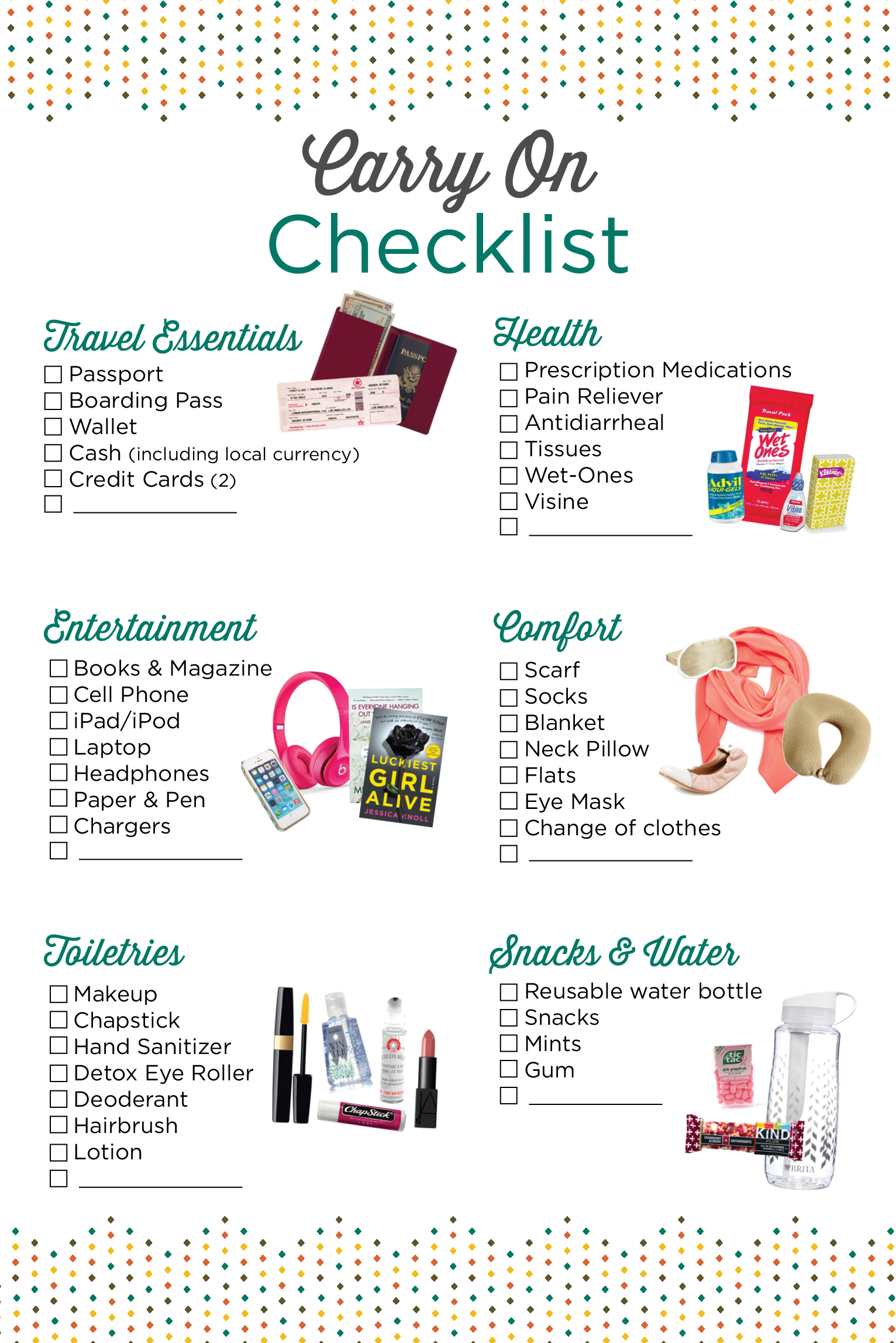 use this carry on checklist to make sure you have everything you need for a flight