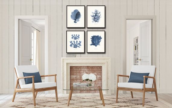 Vintage Indigo Blue Sea Coral Print Set No. 2 Giclee Art