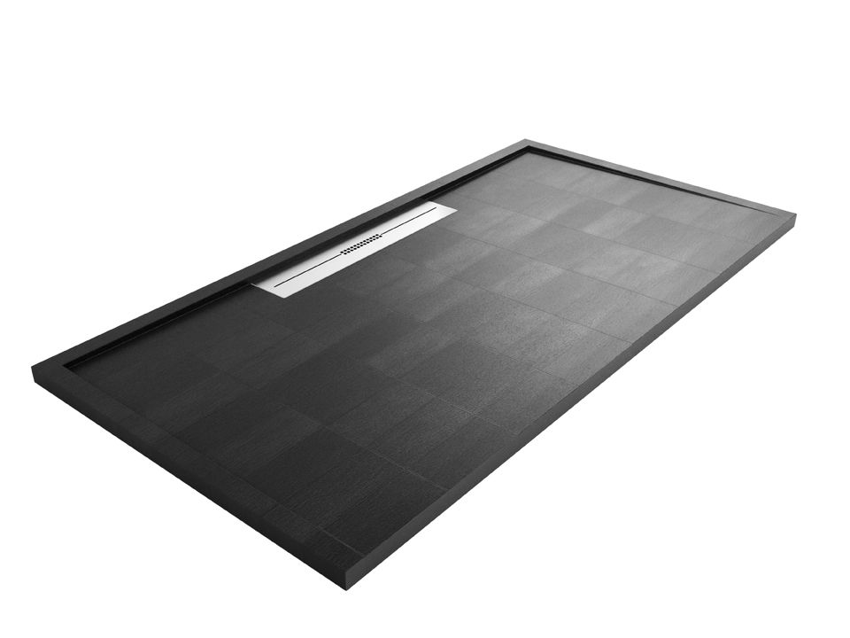 Use a black or dark coloured shower tray to add to the overall tone ...
