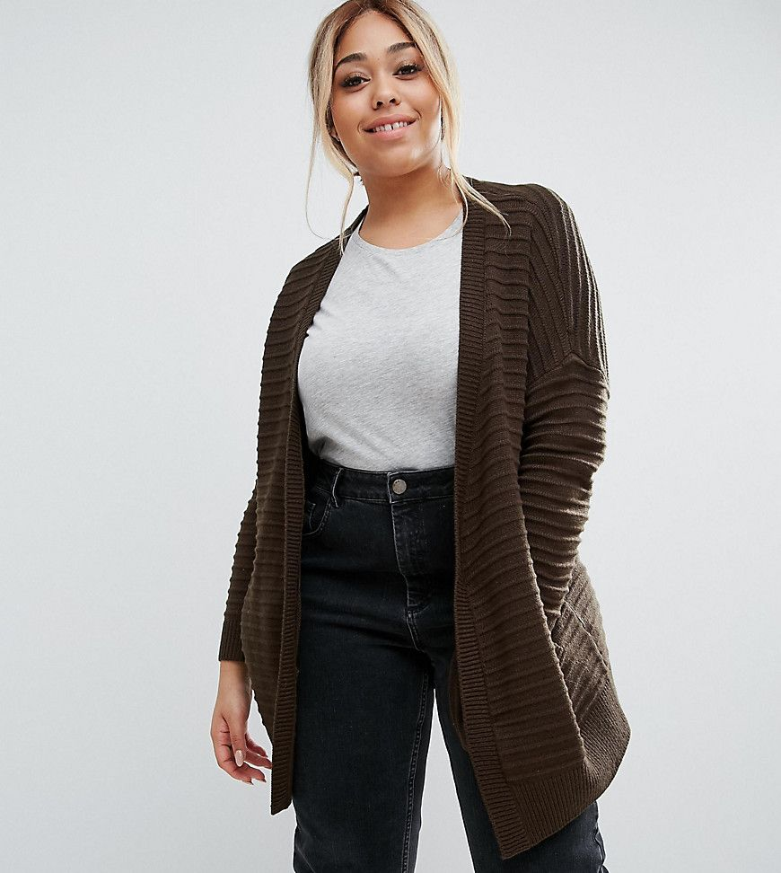 ASOS CURVE Longline Cardigan in Ripple Stitch - Green | Products ...
