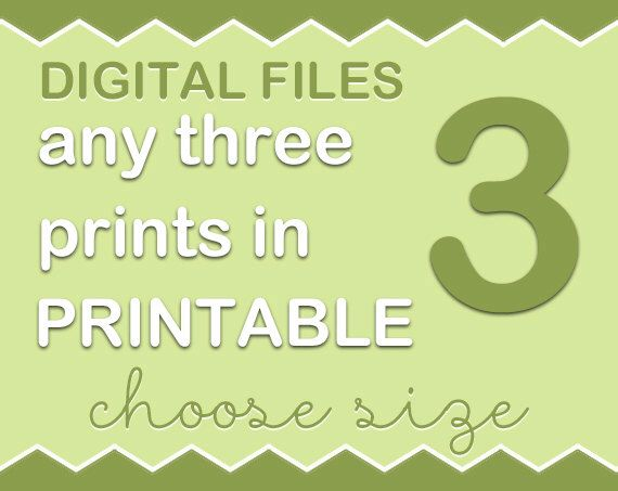 Choose any three art prints from my PinkeeArt or PinkeeHome shops and turn into digital files, customize by PinkeeDigital on Etsy https://www.etsy.com/listing/205401018/choose-any-three-art-prints-from-my