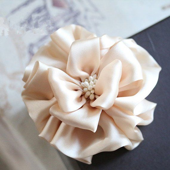 Larger Handmade Silk Flower Fabric Flower Fabric Rose (3-3/4 inches) In Petal Peach MY-439-01 Ready #flowerfabric