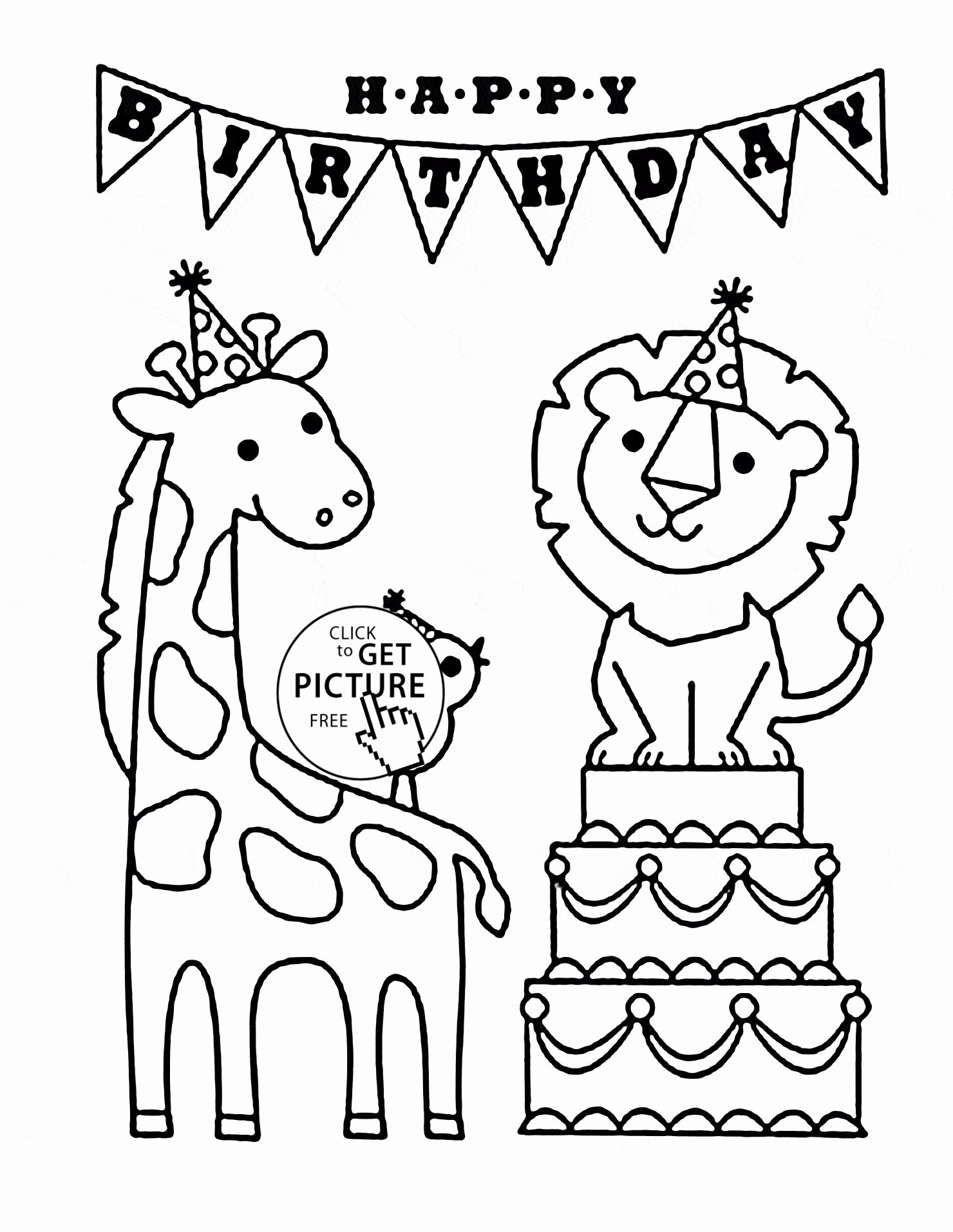 Holiday Coloring Books For Adults Awesome Happy Birthday And Funny Animals Coloring Page F Happy Birthday Coloring Pages Birthday Coloring Pages Coloring Books