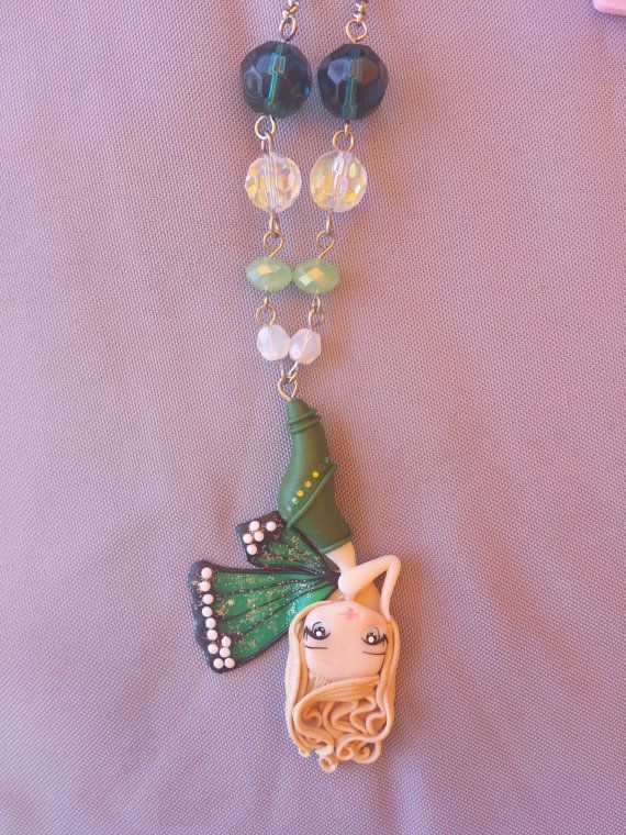 cocoon butterfly necklace polymer clay fimo by Artmary2 on Etsy, €13.00