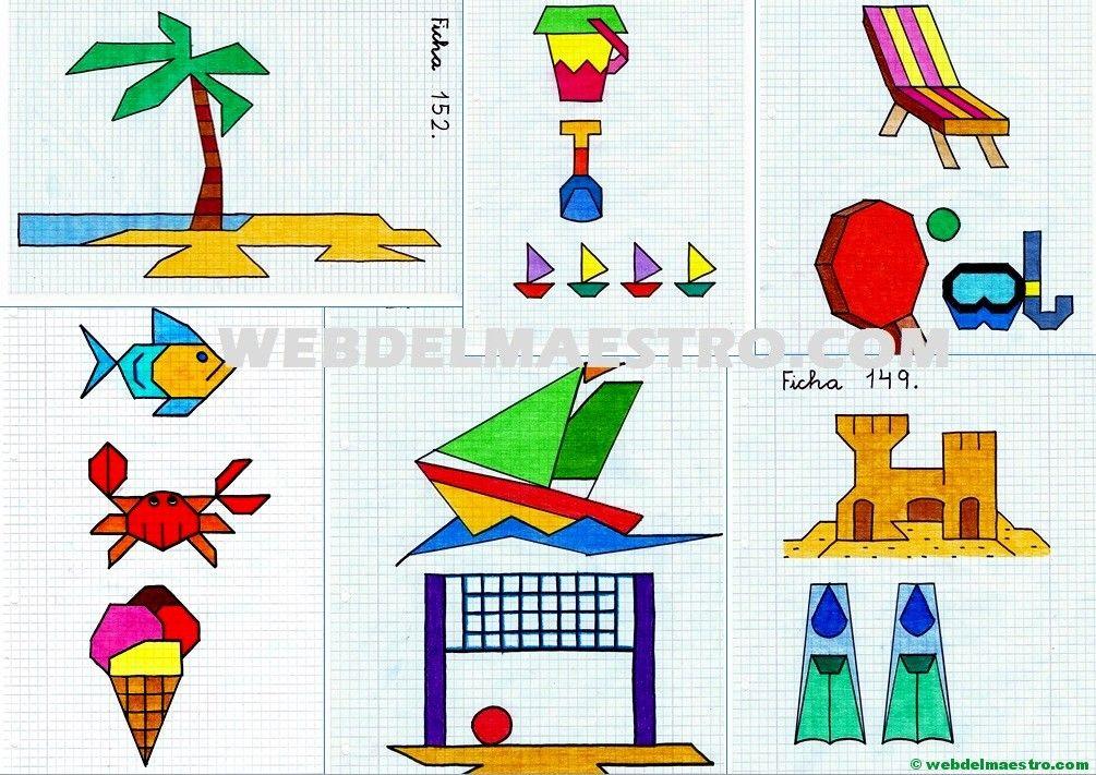 Dibujos En Cuadrícula Sobre La Playa Dibujos En Cuadricula