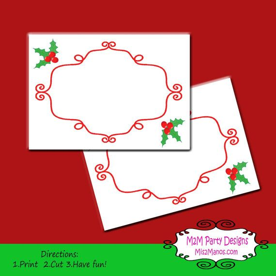 Printable Christmas Labels Tent Cards Holiday Mailing Labels or - mailing label designs