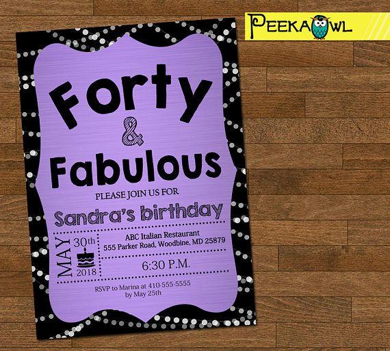 Printable 40th Birthday Invitation Card Forty Fabulous Birthday