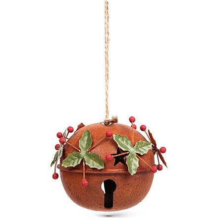 GISELA GRAHAM Rusted jingle bell decoration Christmas decor