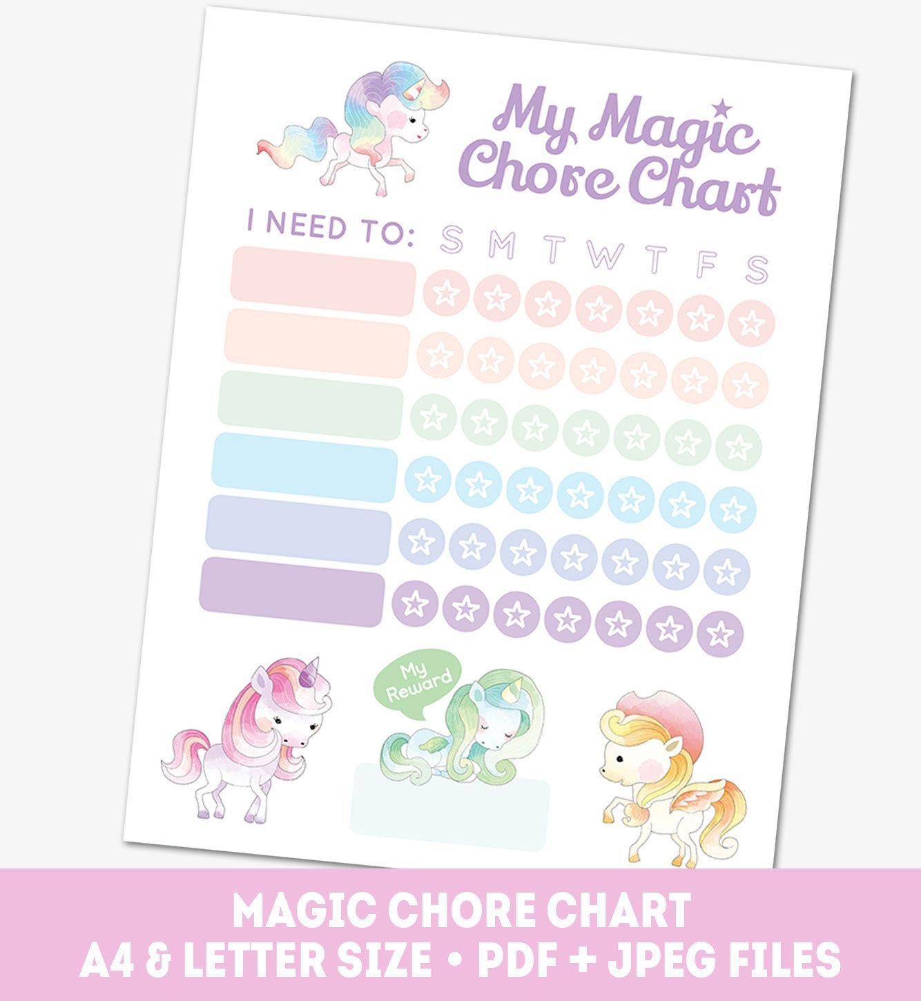 Chore Chart For Girls Printable Pony Reward Chart Weekly Etsy Chore Chart Reward Chart Charts For Kids