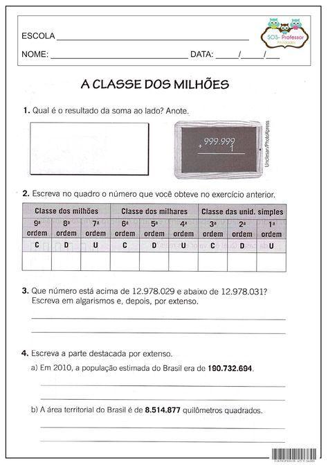 Classe Dos Milhoes Com Imagens Atividades De Matematica