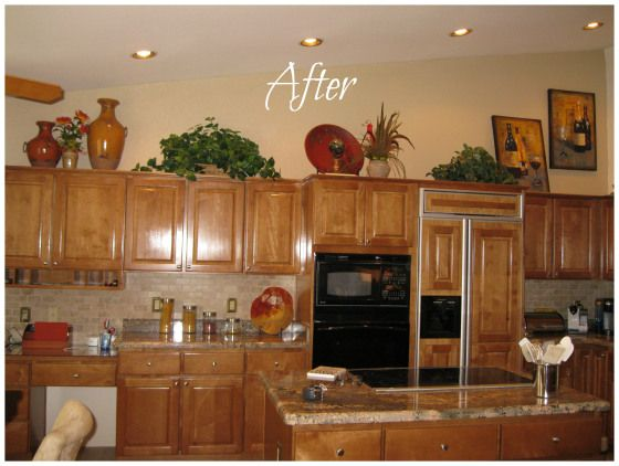 How To Decorate Above Your Kitchen Cabinets. Design By