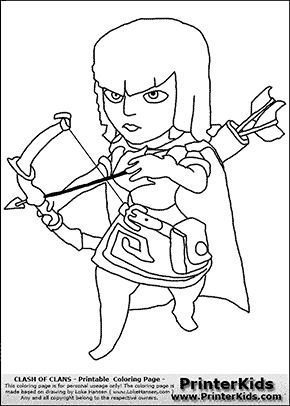 Clash Of Clans Archer Coloring Page Clash Of Clans Pinterest
