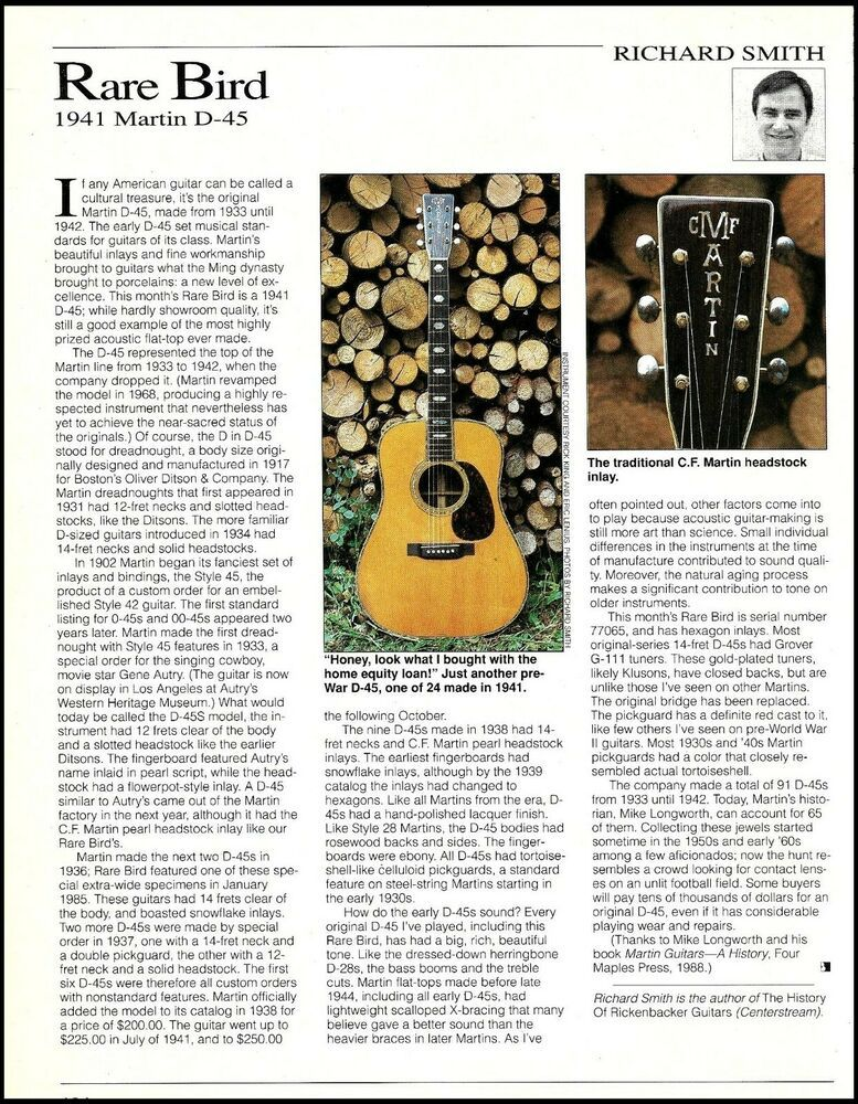 The Martin Vintage 1941 D 45 Acoustic Guitar History 8 X 11 Article Print Martin Martin Acoustic Guitar Acoustic Guitar Signature Guitar