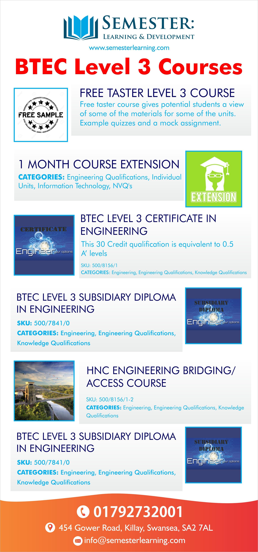 BTEC Level 3 Courses Semester Learning & Development Ltd
