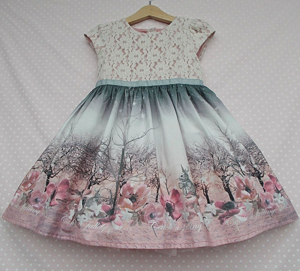 Toddler Child Kids Baby Girl Winter Bunny Floral Princess Party Dress Clothes UK