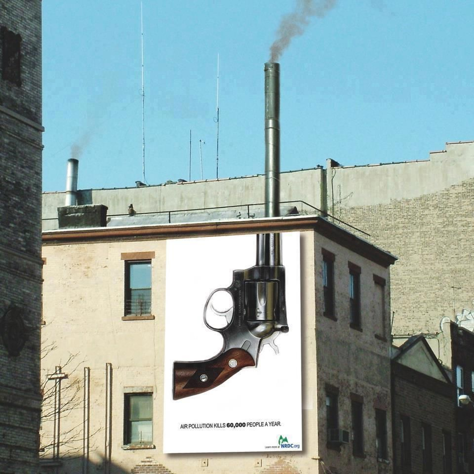 Clever billboard against pollution