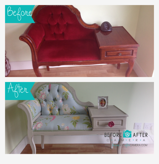 Upcycled telephone using Authentico Almond chalk paint and Laura Ashley Summer Palace fabric