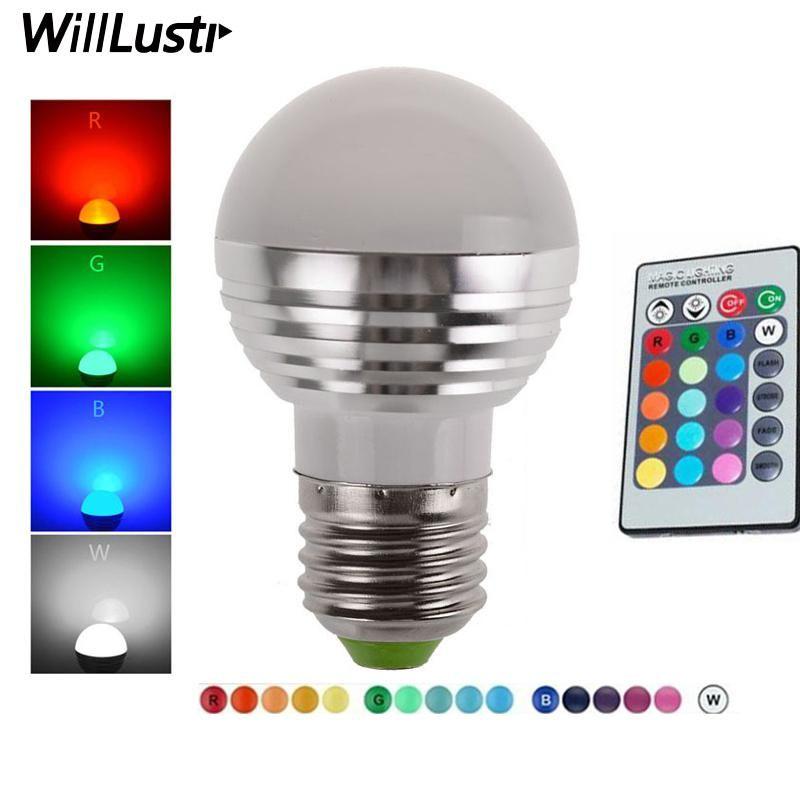 Led 3w Rgb Globe Bulb 16 Colors Rgb Bulb Aluminum 85 265v Wireless