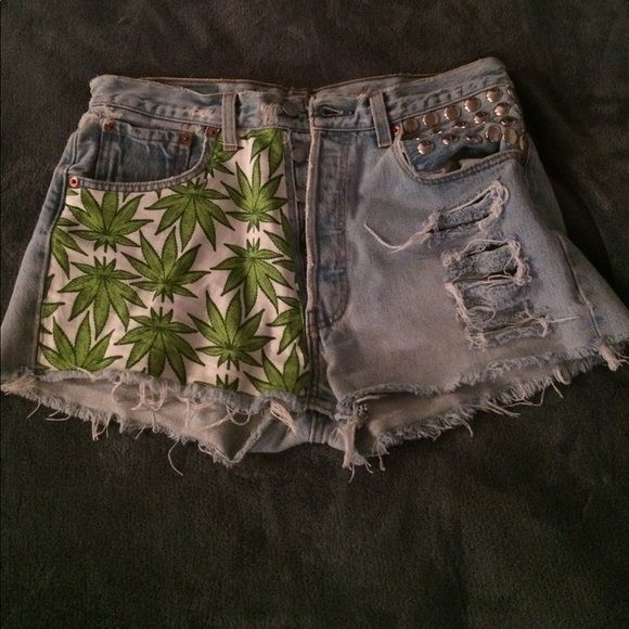 Marijuana Levi Shorts These shorts have studs and distressed rips and weed design Levi's Shorts