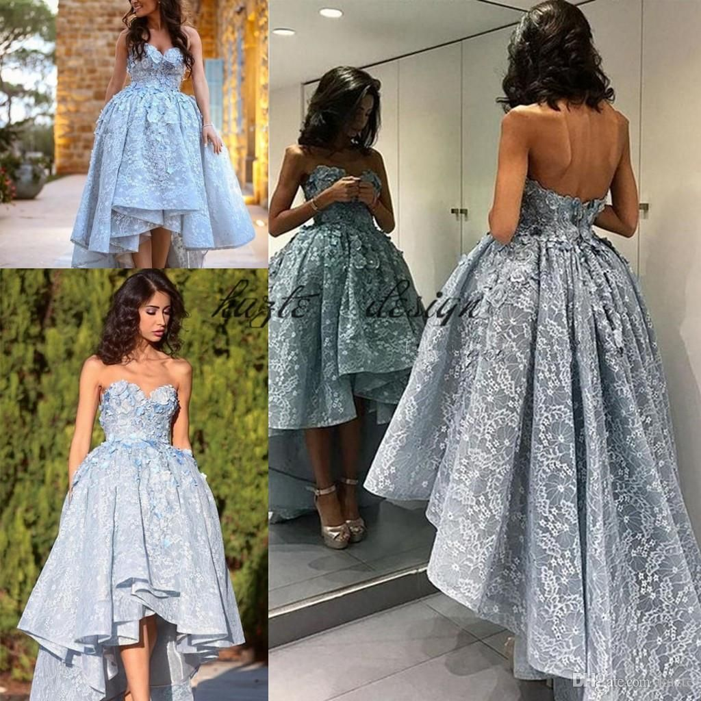 Cinderella short front long back prom occasion dresses ice blue