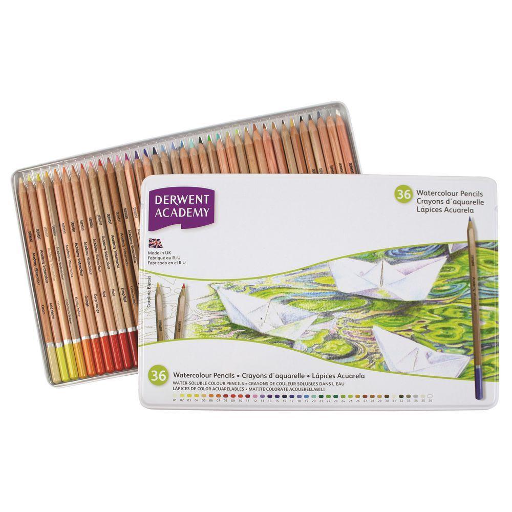 Derwent Academy Watercolour Set Of 36 Pencils Watercolor Pencils