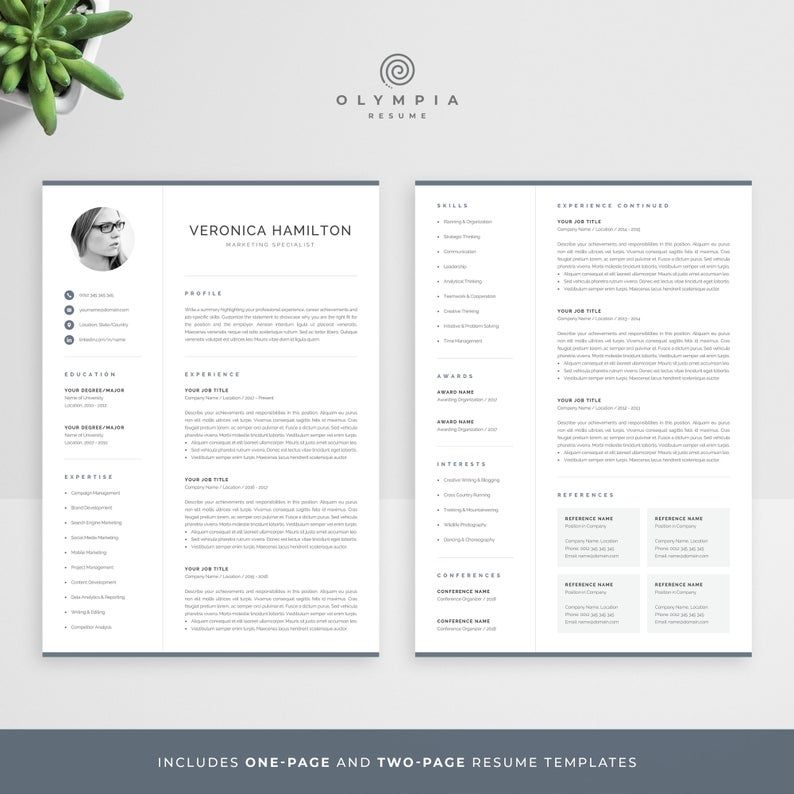 Professional Cv Template With Photo Modern Photo Resume Etsy In 2021 Resume Template Professional Resume Template Cv Template Professional