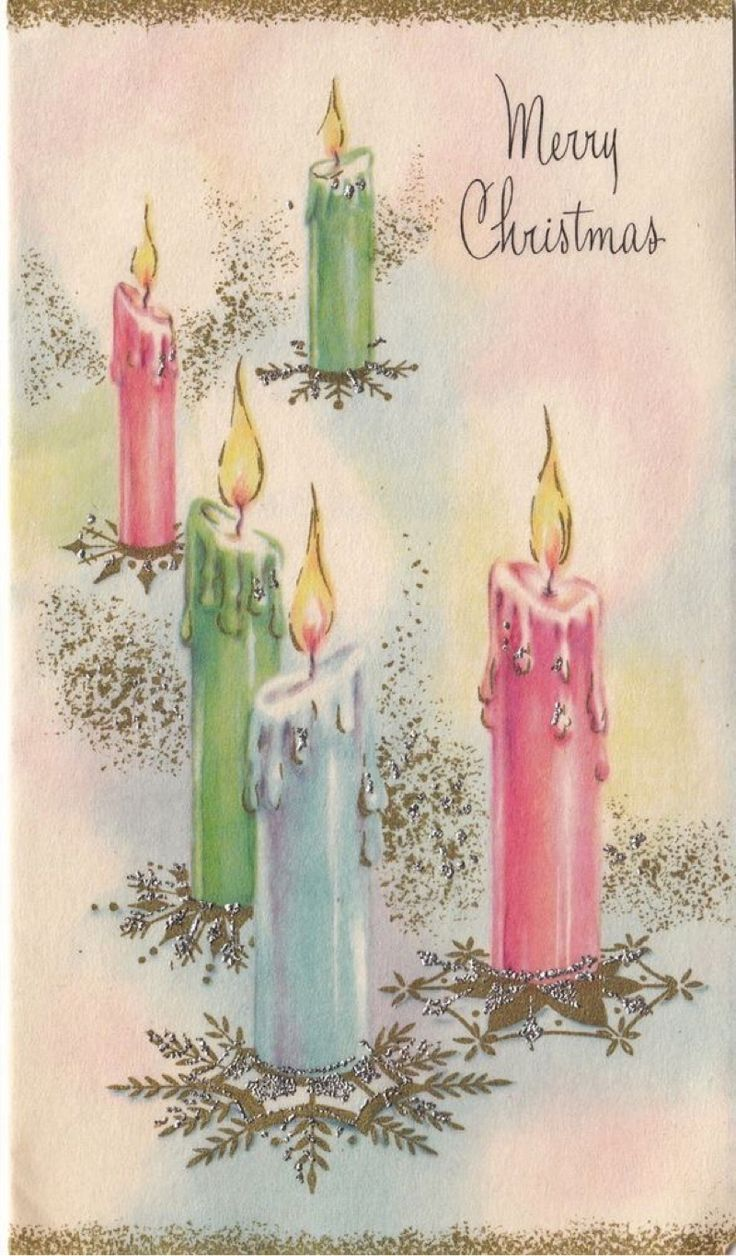 Vintage Greeting Card Christmas Candles Pastels Pink Blue