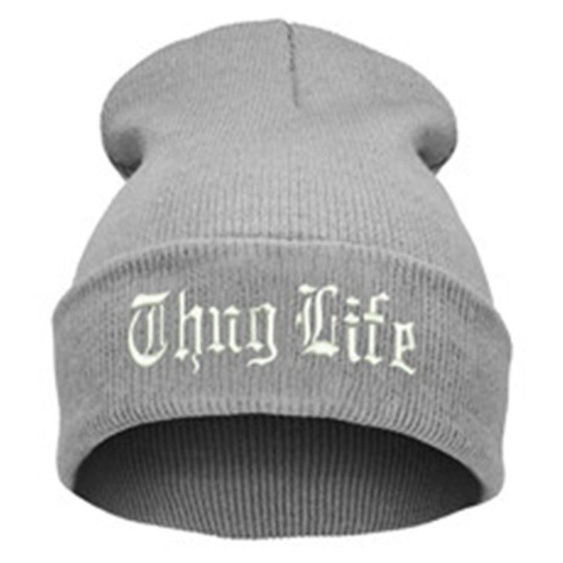 7d06ea830a4 THUG LIFE Letter Embroidered Unisex Beanie Fashion 2pac Hip Hop Mens ...
