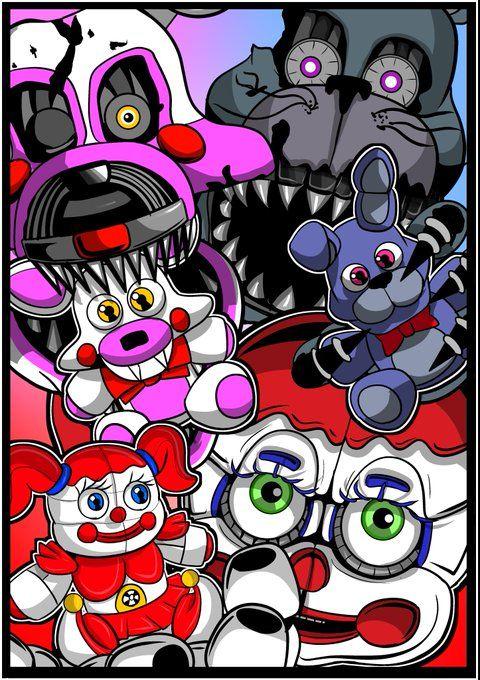 Five Nights At Freddy S Circus Baby Wallpaper Nightmare Mangle Nightmare Bonnie And Circus Baby Plushies Ucn Fnaf Wallpapers Fnaf Drawings Circus Baby