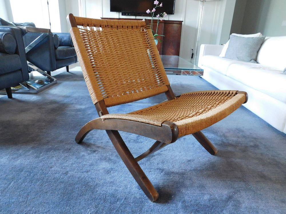 Mcm Vintage Hans Wegner Style Folding Chair Rope Wicker Rush