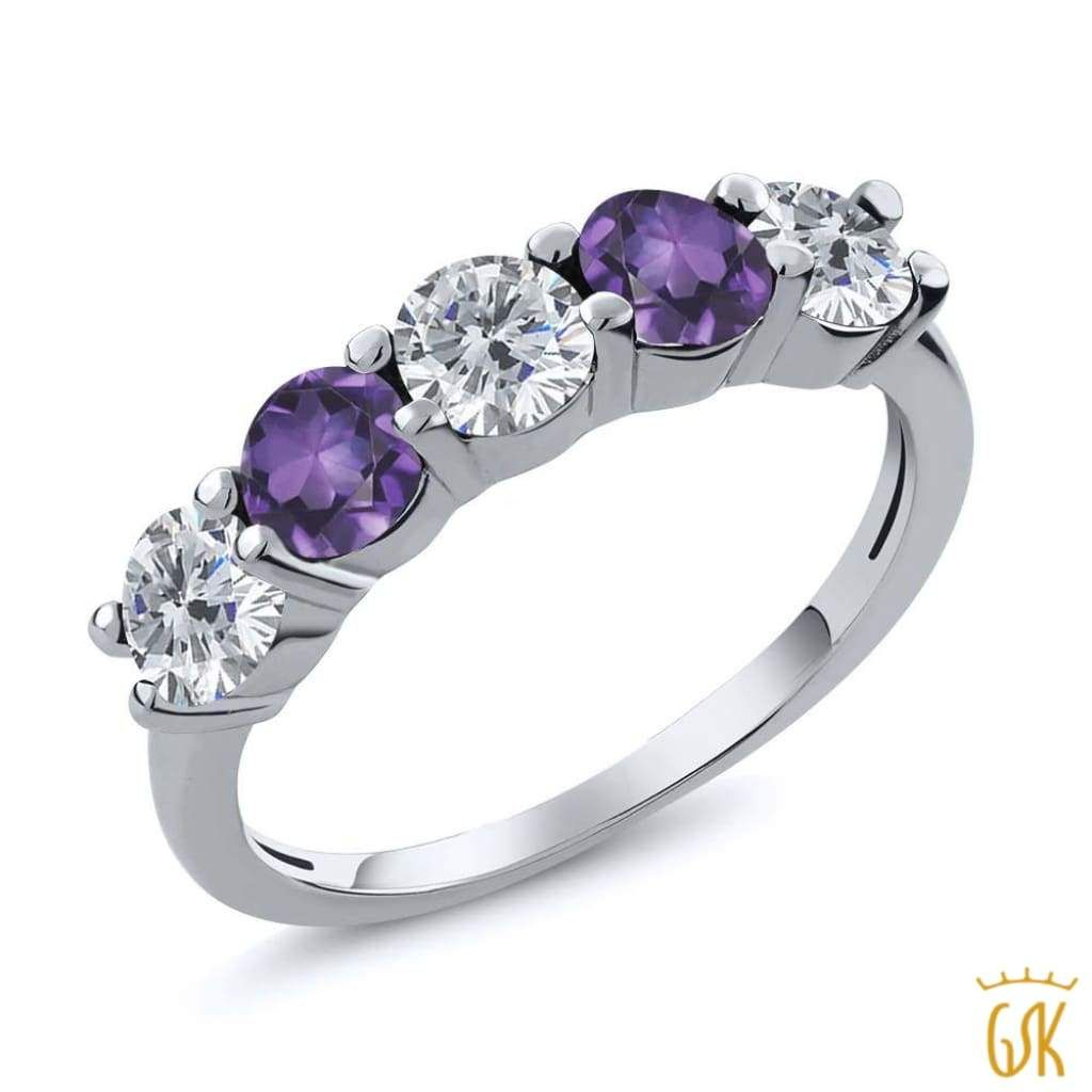 Gem Stone King 0.75 Ct Round Purple VS Amethyst 925 Sterling Silver Wedding Band Ring