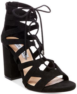 Steve Madden Women S Gal Lace Up Sandals Macys Com Black Lace Shoes Black Lace Up Shoes Lace Up Block Heel