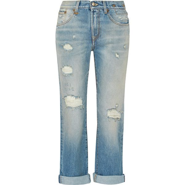 R13 - Catherine Distressed Mid-rise Boyfriend Jeans ($187) ❤ liked on  Polyvore. Destroyed JeansLight DenimDistressed ...
