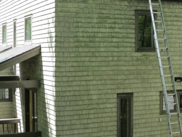 Best Cedar Shake Siding Being Cleaned By Roof Cleaner 400 x 300