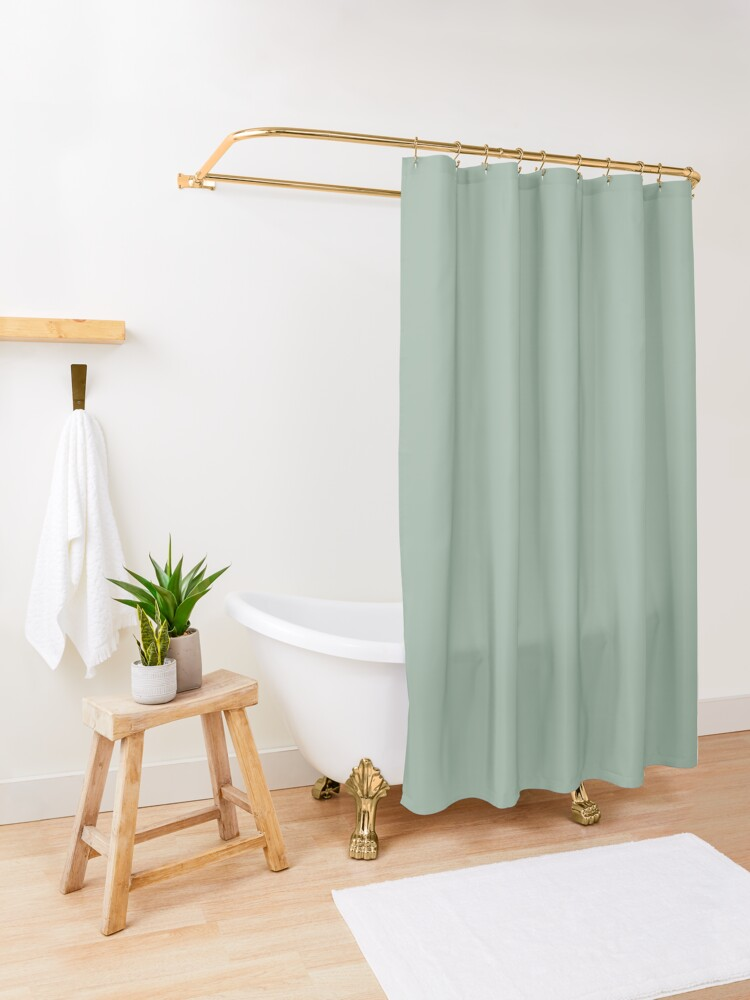 Solid Neutral Pastel Color Dark Sea Green Shower Curtain By Beatris Veres Design In 2020 Green Shower Curtains Blue Shower Curtains Ombre Shower Curtain