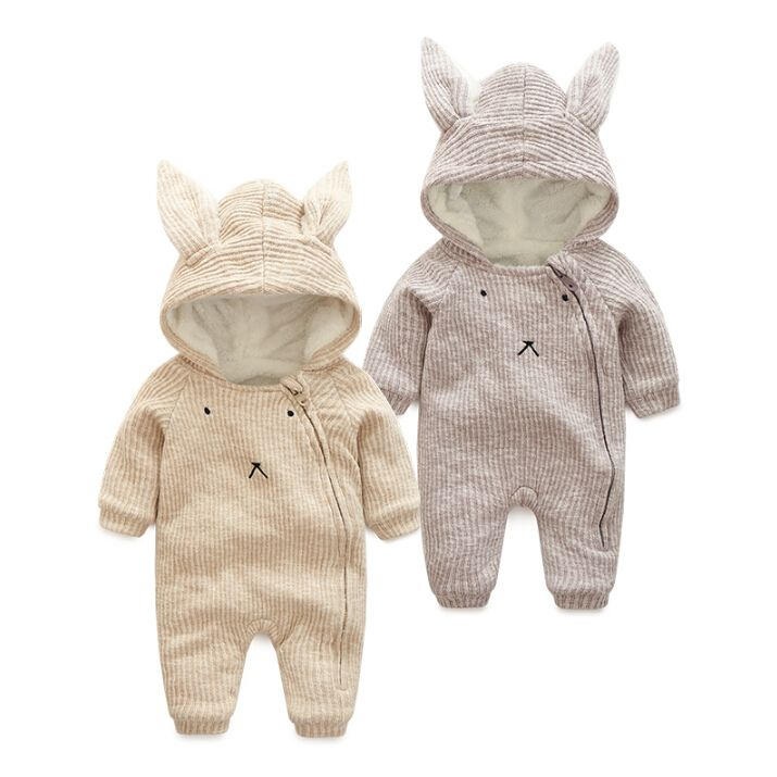 423b42ec5 autumn Winter Warm Thick Knitted Sweater Baby Rompers Coral Fleece ...