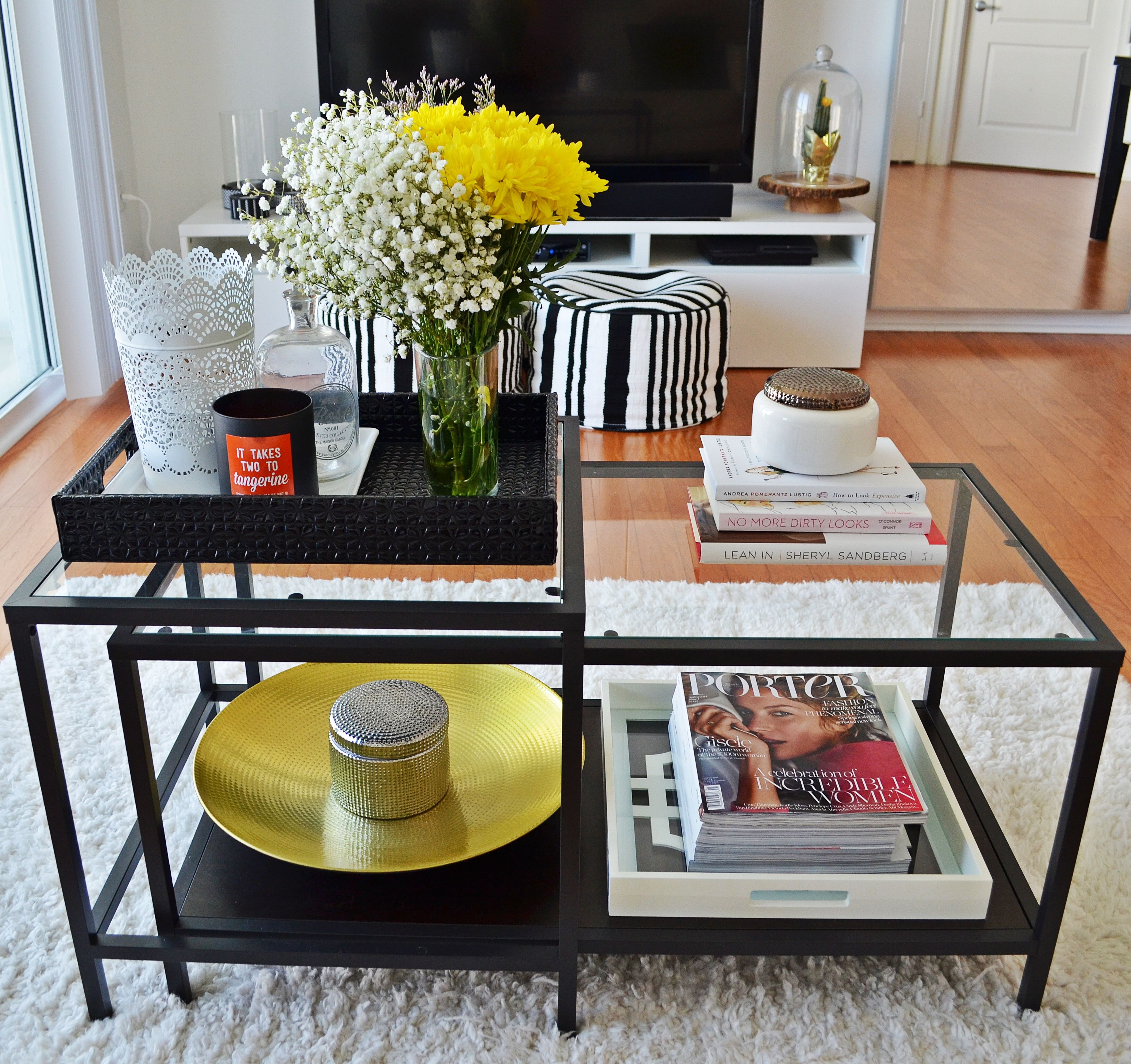 Yup This Is Going To Be My Coffee Table Wondering If I Should Do A Little Paint Job Hack And Make It Coffee Table Home Coffee Tables Glass Dining Table Decor [ 3260 x 3465 Pixel ]
