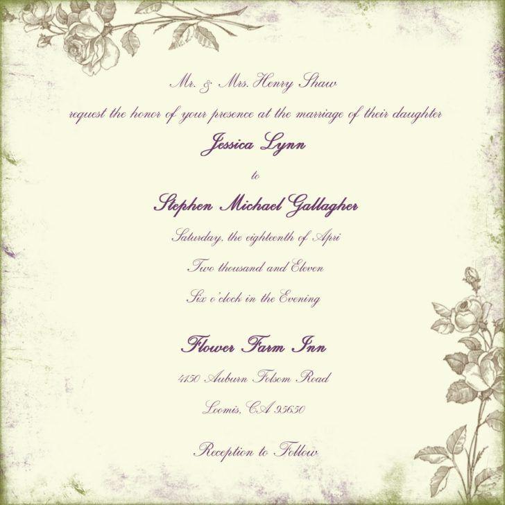 Wedding. Retro Wedding Invitation Wording Template Design Floral ...