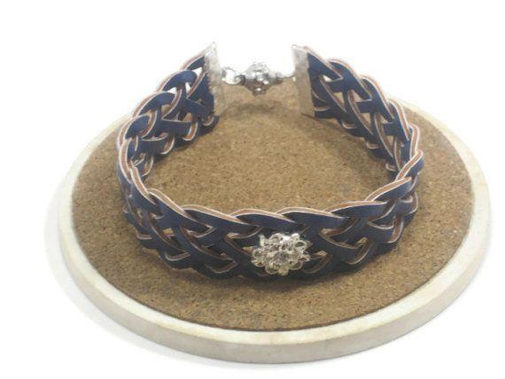 Upcycled Braided Leather Belt Bracelet Blue Cuff by cynhumphrey, $12.00