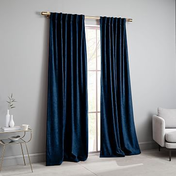 Textured Upholstery Velvet Curtain Blackout Regal Blue