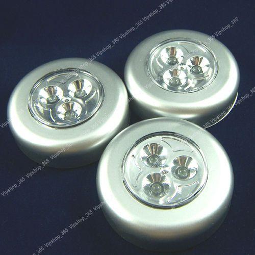 3 White Battery lights Under cabinet LED Puck Light New