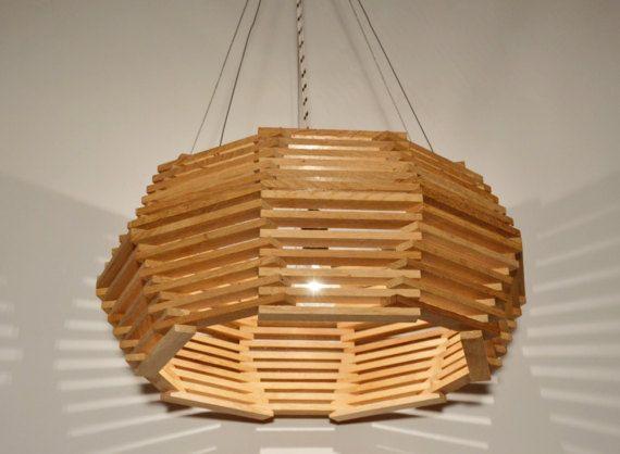 Super Houten Design hanger lamp eiken hout zwart-wit textiel (com DT-96