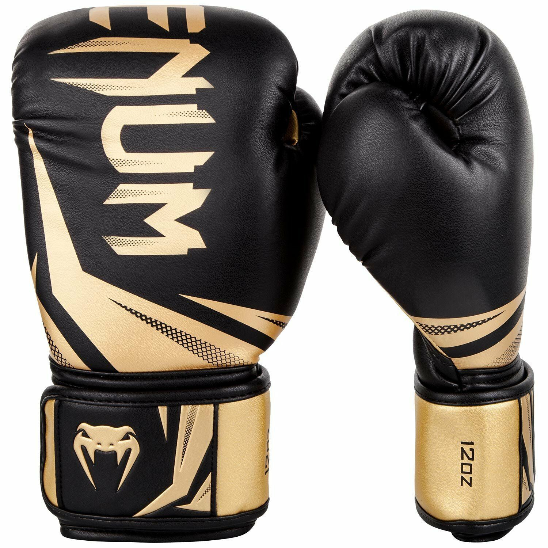 White//Gold Venum Challenger 3.0 Hook /& Loop Boxing Training Gloves