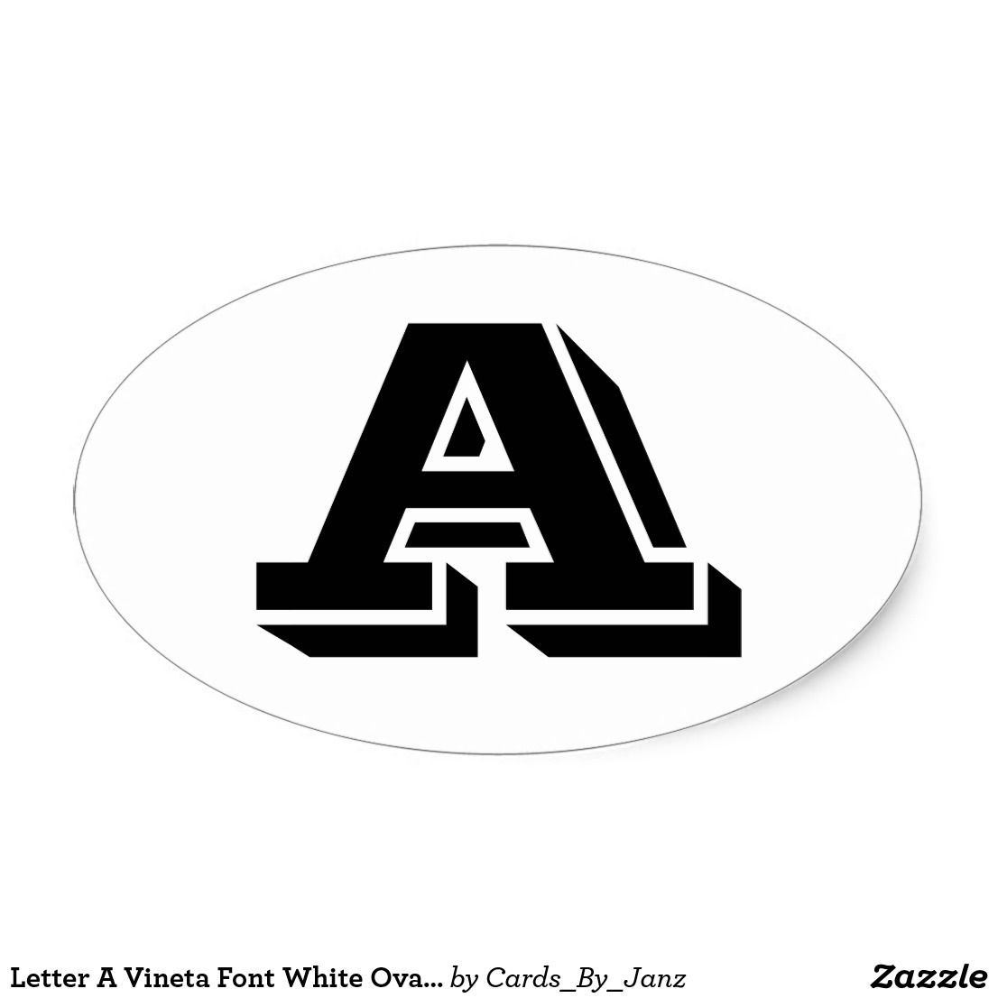 Letter A Vineta Font White Oval Stickers by Janz