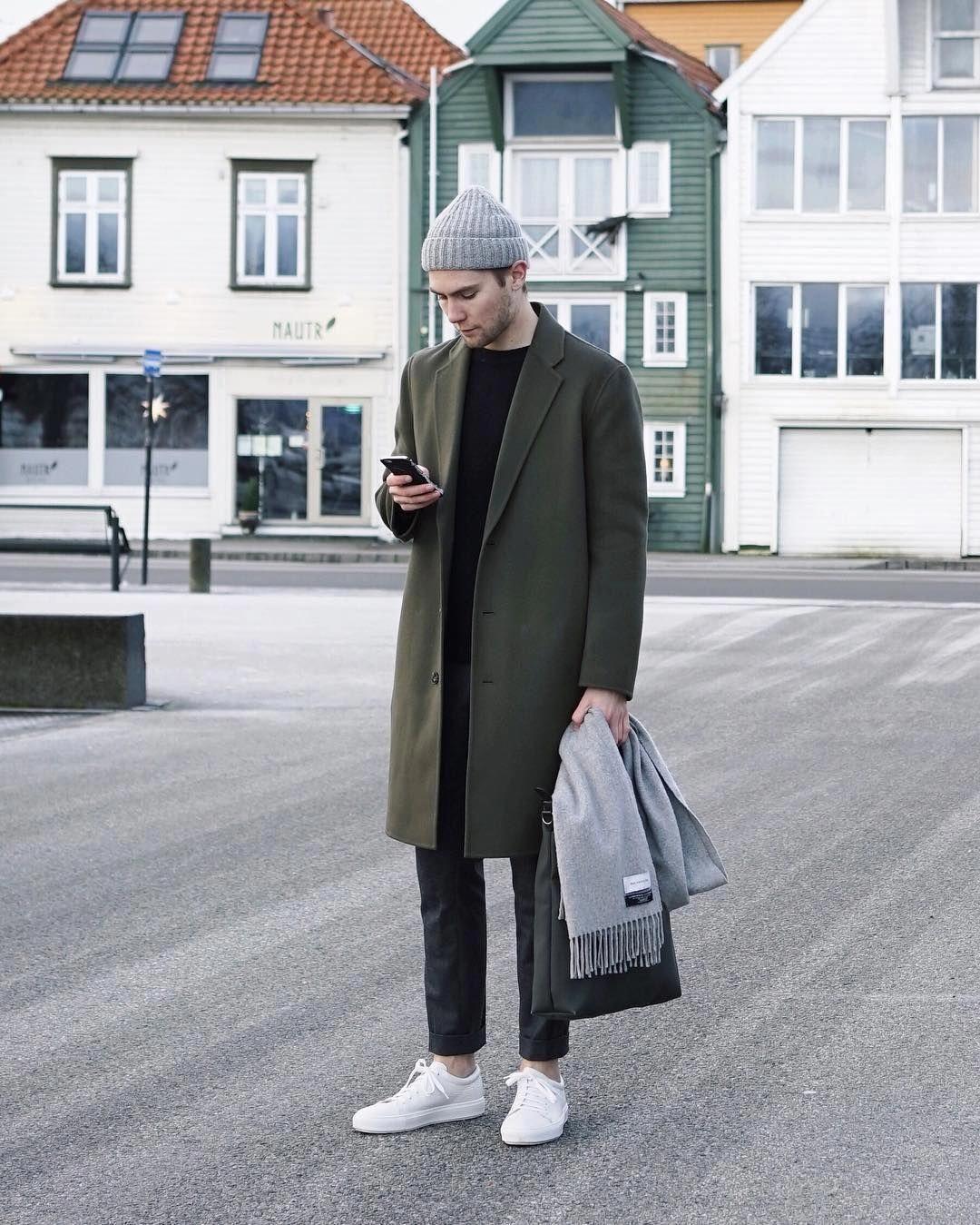 Topcoat Casual Menswear Mens Style Fashion Green Olive Scandinavian Norway Sneakers Win Winter Outfits Men Casual Winter Outfits Mens Winter Fashion