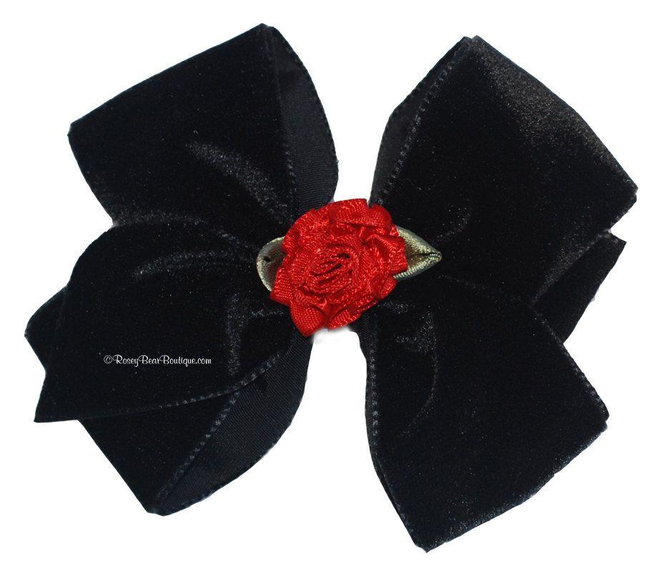 """Black Velvet Hair Bow with Red Satin Rosette - 3.5"""". $6.00, via Etsy."""