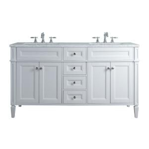 Stufurhome Anastasia French 60 In White Double Sink Bathroom Vanity With Marble Vanity Top And White Basin Hd 1524w 60 Cr The Home Depot In 2020 Double Sink Bathroom Vanity Double Sink Bathroom Bathroom
