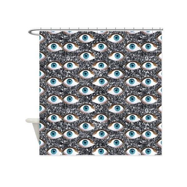 glitter eyes Shower Curtain (75 CAD) ❤ liked on Polyvore featuring home, bed & bath, bath, shower curtains, blue eyed, custom and blue shower curtains